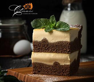 Prăjitură cu brânză și umplutură de vanilie